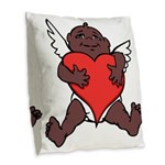 African Cupid Valentine Love Burlap Throw Pillow