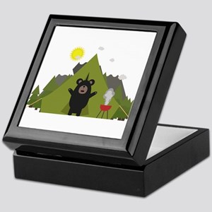 Grizzly Bear Camping Keepsake Box