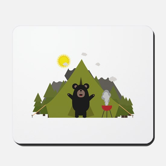 Grizzly Bear Camping Mousepad