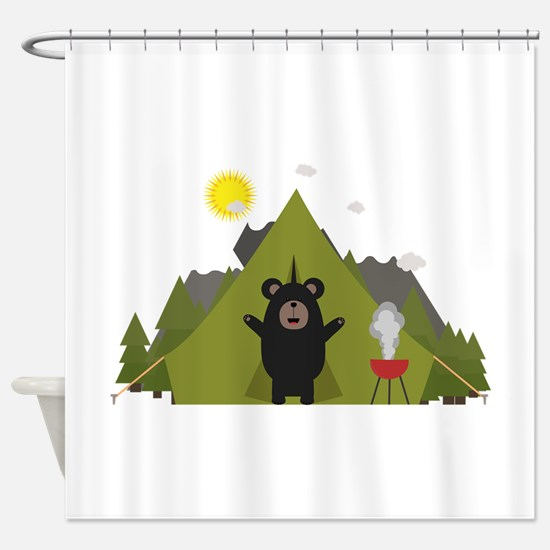 Grizzly Bear Camping Shower Curtain