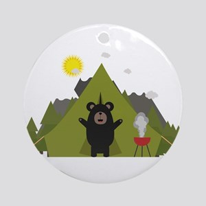 Grizzly Bear Camping Round Ornament