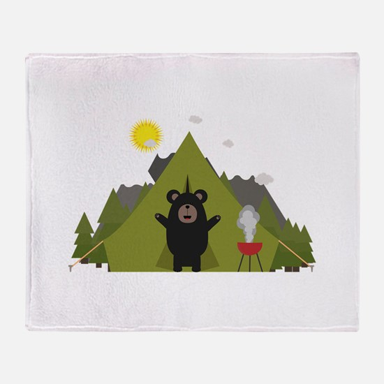 Grizzly Bear Camping Throw Blanket