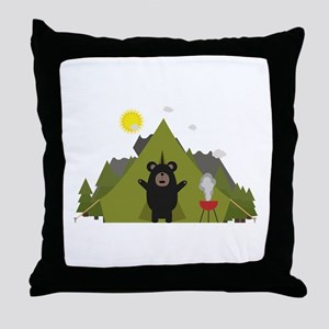 Grizzly Bear Camping Throw Pillow