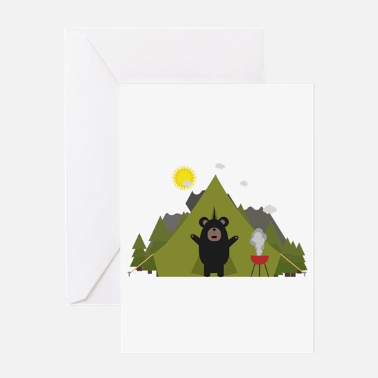Grizzly Bear Camping Greeting Cards