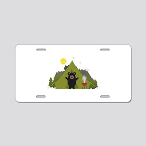 Grizzly Bear Camping Aluminum License Plate