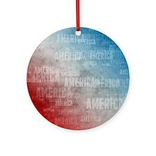 Patriotic America Text Graphic Round Ornament
