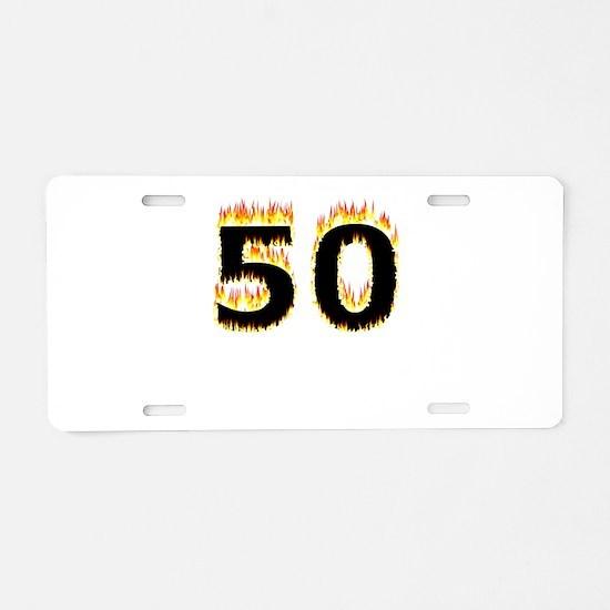 50 (Flames) Aluminum License Plate