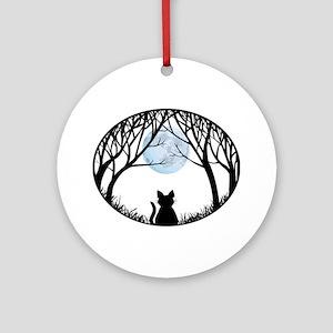 Cat Lover Cute Fat Cat Round Ornament