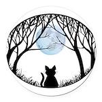 Fat Cat & Cat Lover Round Car Magnet