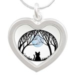 Fat Cat & Cat Lover Silver Heart Necklace