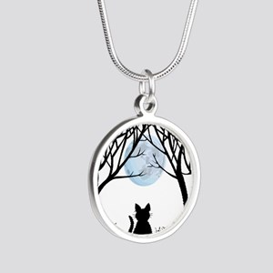 Cat Lover Cute Fat Cat Silver Round Necklace