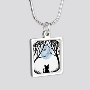 Cat Lover Cute Fat Cat Silver Square Necklace