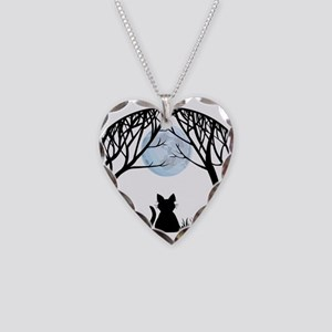 Cat Lover Cute Fat Cat Necklace Heart Charm