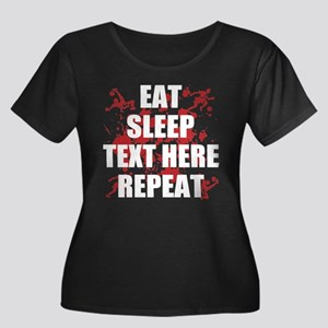 Eat Slee Women's Plus Size Scoop Neck Dark T-Shirt