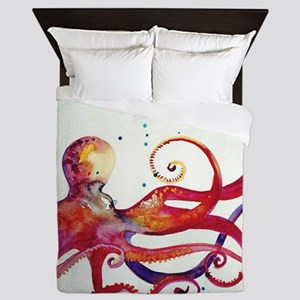 Watercolor Octopus Queen Duvet