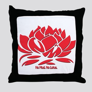 No Mud No Lotus Red Throw Pillow