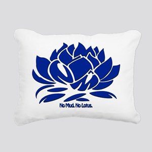 No Mud No Lotus Blue Rectangular Canvas Pillow