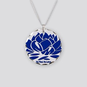 No Mud No Lotus Blue Necklace Circle Charm