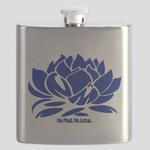 No Mud No Lotus Blue Flask