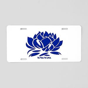 No Mud No Lotus Blue Aluminum License Plate