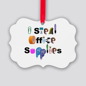 I steal office supplies Picture Ornament