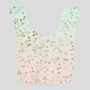 Peach Mint Gold Confetti Polyester Baby Bib