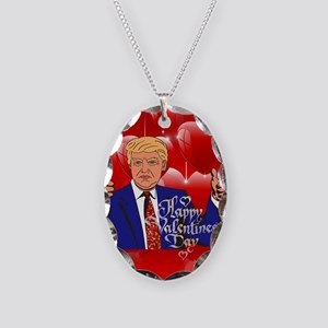 valentines day donald trump Necklace Oval Charm
