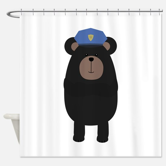 Grizzly Police Officer Shower Curtain