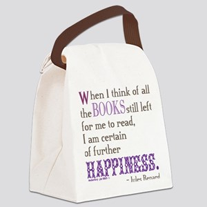 Book Quote Certain Happiness Canvas Lunch Bag