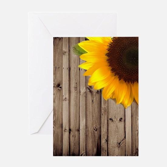bohemian barn wood sunflower Greeting Cards
