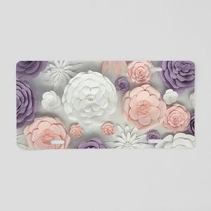 pastel purple pink floral Aluminum License Plate