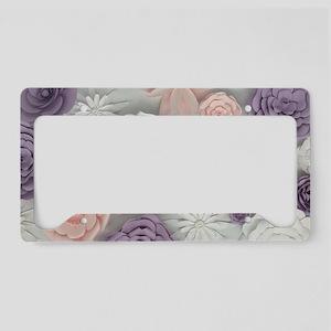 pastel purple pink floral License Plate Holder