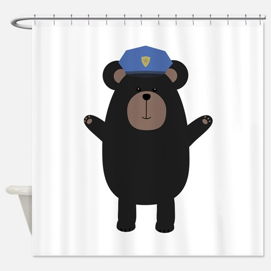 Happy Grizzly Police Officer Shower Curtain