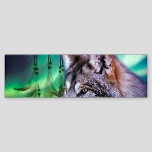 native dream catcher wolf northern Bumper Sticker
