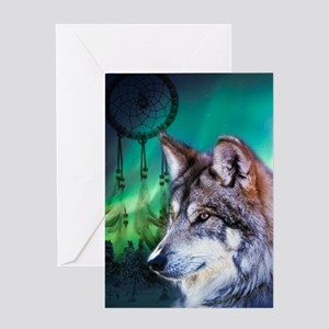 native dream catcher wolf northern Greeting Cards