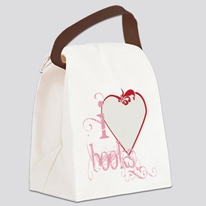 I Heart Love Books Pink Red Swirl Canvas Lunch Bag