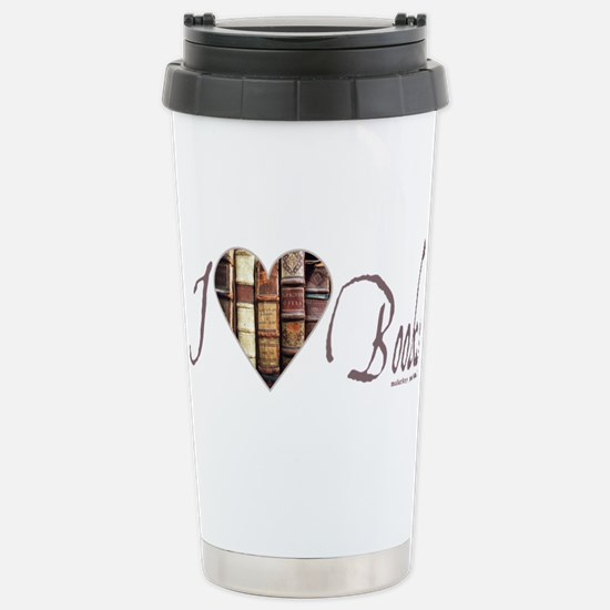 I Heart Love Books Brow Stainless Steel Travel Mug