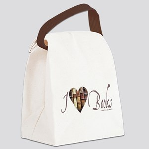 I Heart Love Books Brown Rustic Canvas Lunch Bag