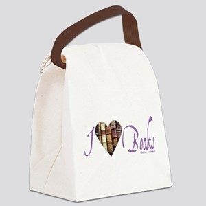 I Heart Love Books Lavender Photo Canvas Lunch Bag
