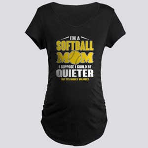 Super Softball Mom T Shirt Maternity T-Shirt