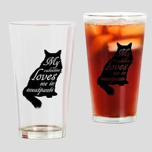 Valentine Cat loves Sweatpants Drinking Glass