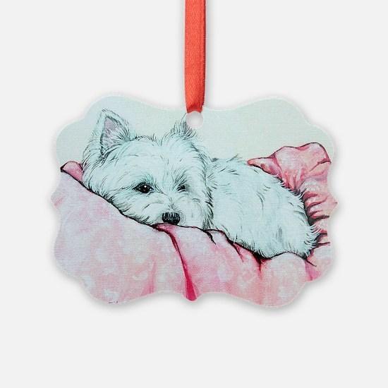 Sleepy Westie Ornament