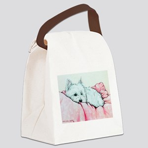 Sleepy Westie Canvas Lunch Bag