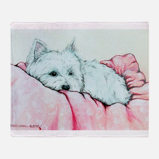 Sleepy Westie Throw Blanket