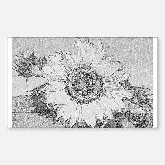 Funny Black and white sunflowers Sticker (Rectangle)