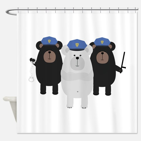 Grizzly Police Officer Squad Shower Curtain