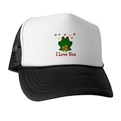 Green Frog Valentine Trucker Hat