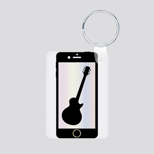 Mobile Phone With Guitar Isolated Keychains