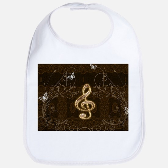 Music, clef with floral elements Baby Bib