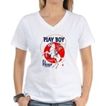 Play Boy Flour Women's V-Neck T-Shirt